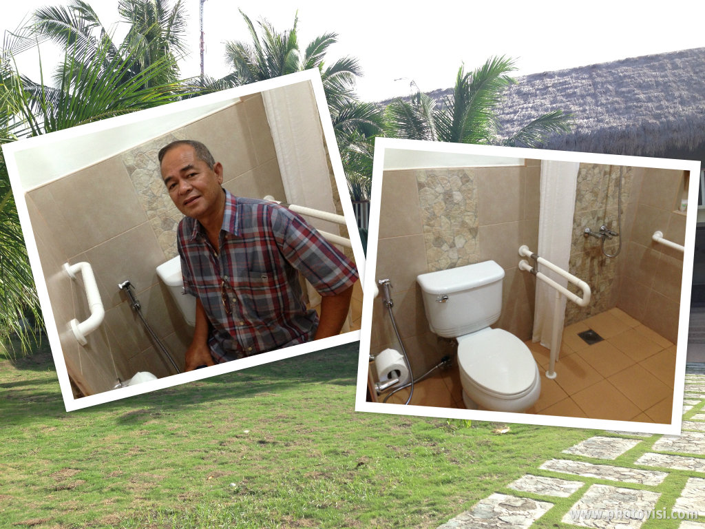 Person with disability-friendly bathroom at Bohol Beach Club's PWD room. Dad's special photo with his special request -- bidet! Hehe!