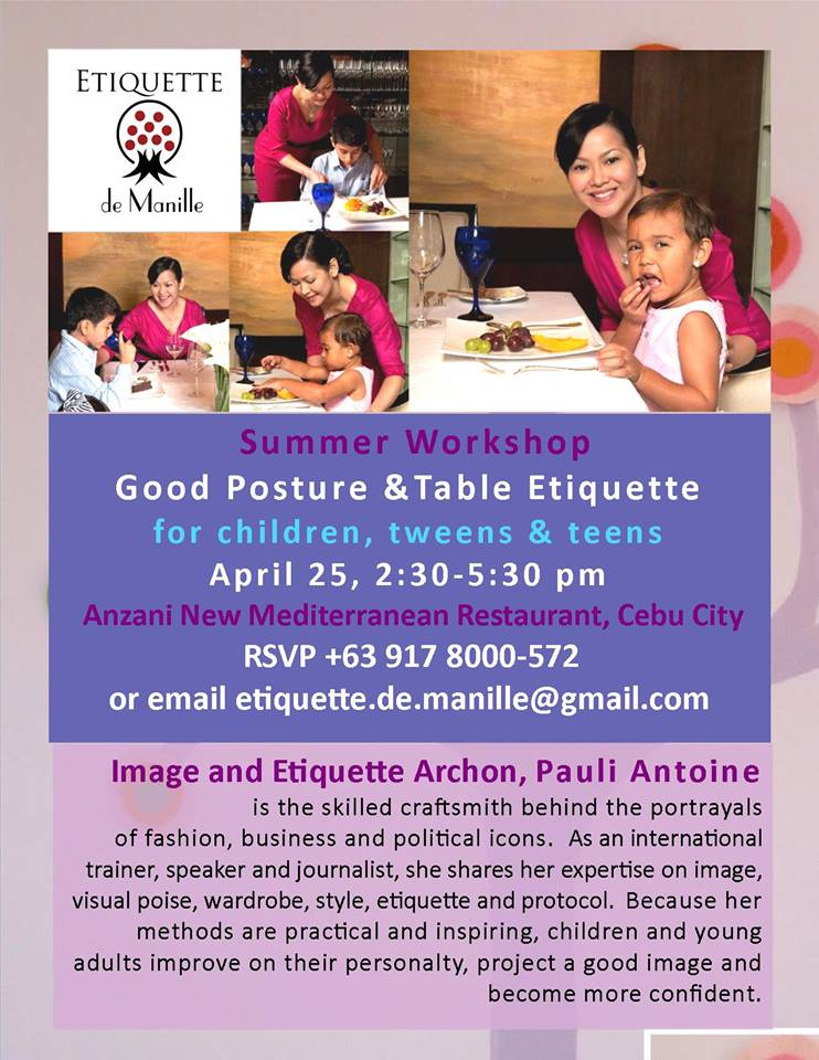 Etiquette de Manille will be in Cebu next weekend!