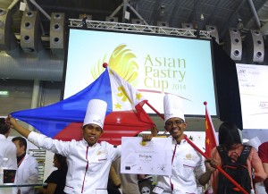 Bryan Dimayuga and Rizalino Manas at the Asian Pastry Cup in Singapore's Food and Hotel Asia  2014