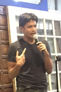 "Jerome Cleofas is a poet/songwriter who did not believe in mental illness until he experienced it, until he was diagnosed with upper respiratory infection due to anxiety. He mentioned that he is doing research on HIV, homophobia, and depression and his interest on the subject is reflected in his ""Maagang Pagluksa""."