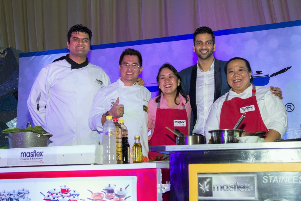 Hiren Mirchandani, Ramesh Trading VP for Marketing and Innovation; Chef Anthony Ballesteros; Nancy Reyes-Lumen, Ram Mirchandani, Ramesh Trading VP for Sales and Business Development; and Chef Jaja Andal