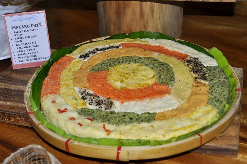 Pistang Pate - salted egg pate (white), salted egg pate (yolk), kalabasa pate, malunggay pate, atsuete pate, talangka pate, paminta pate, labuyo & cheese pate.