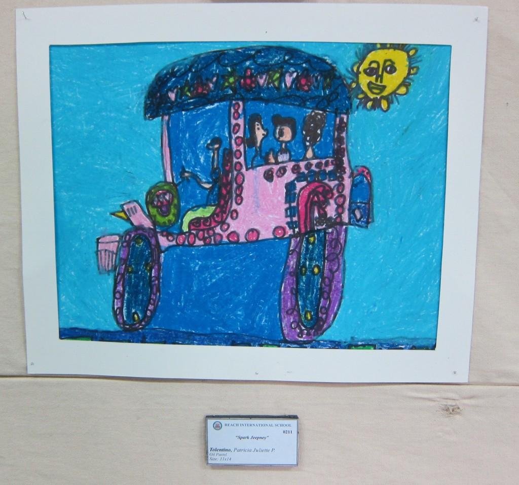"""Spark Jeepney"" by Grade 2 student Patricia Juliette Tolentino. Oil Pastel. 11 x 14."