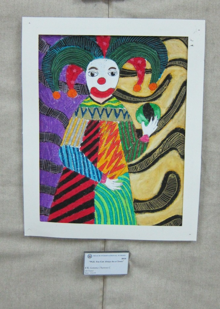 """Well, You Can Always be a Clown"" by Grade 10 student, Gemma Therese Uy. Oil Pastel. 11x 14."